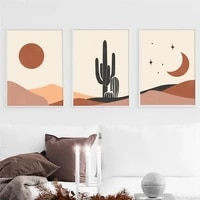 abstract geometric landscape canvas painting nordic plant sun moon poster print minimalist picture living room wall art decor