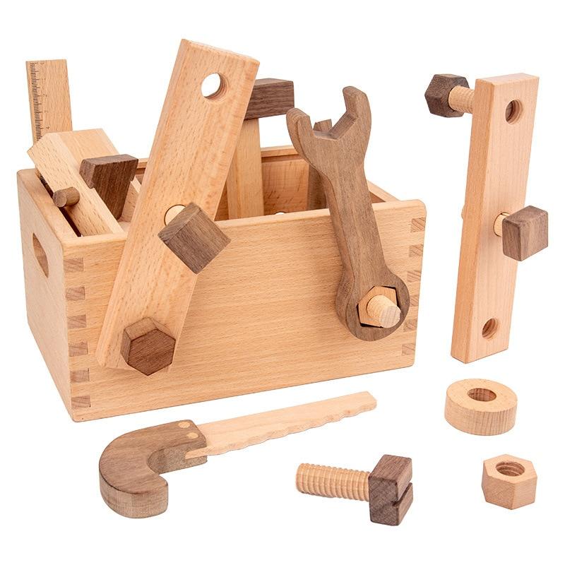 ferramenta de reparo multifuncional infantil de madeira com parafusos de tabuleiro