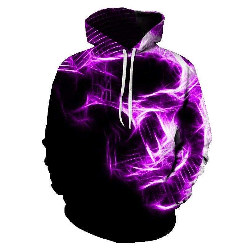Толстовка Мужская/Женская свободного покроя, свитшот с 3D-принтом фиолетового огня, черепа, молодежная повседневная спортивная одежда, паль...