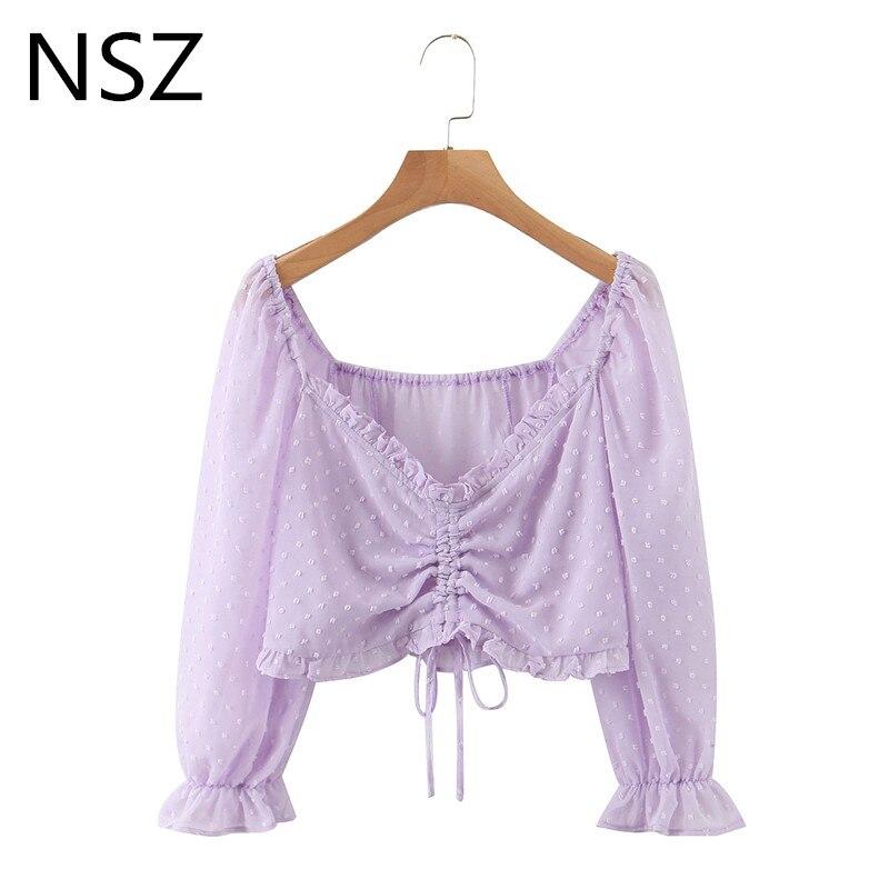 Nsz mulheres chiffon blusa polka dot impressão colheita topo cordão recortado camisa decote em v profundo senhoras moda topo streetwear blusatop