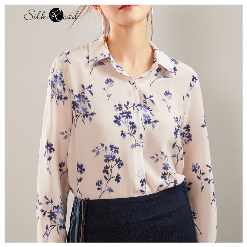 Silviye, camisa de manga larga estampada de seda, camisa de seda de moda para mujer, camisa occidental de primavera 2020