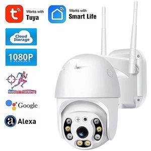 Tuya Smart 1080P Wireless PTZ IP Camera Auto Tracking WiFi Outdoor Waterproof Alexa Google Home Assistant Cloud Storage