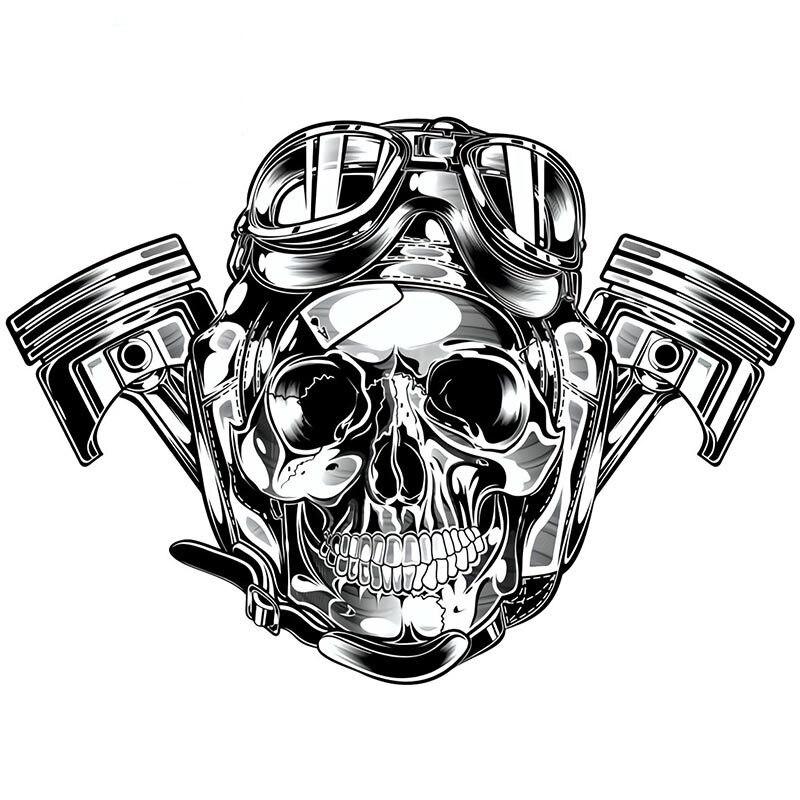 Фучжэнь бутик наклейки внешние аксессуары забавные автомобильные наклейки пилот череп виниловая наклейка авто мотоцикл Скелет Череп Накл...