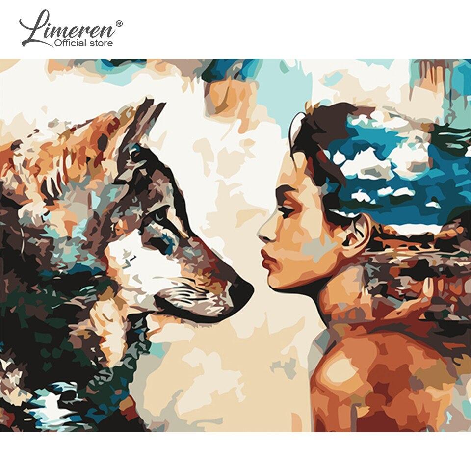 Cuadro de pintura por números DIY de animales, Lobo, pintura al óleo de acrílico para mujer, cuadro de arte moderno para pared, decoración del hogar para la sala de estar de 40x50cm