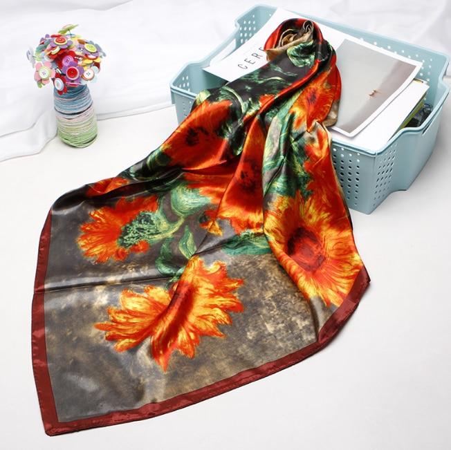 90*90cm Silk Renaissance Scarves Women Foulard Square Hijab Scarf Ladies Satiny Shawl wrap muffler pareo female hijab poncho