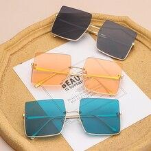 1 PC New Fashion Oversize Sunglasses Half Frame Metal Square Glasses Retro Brand Women Luxury Eyewea