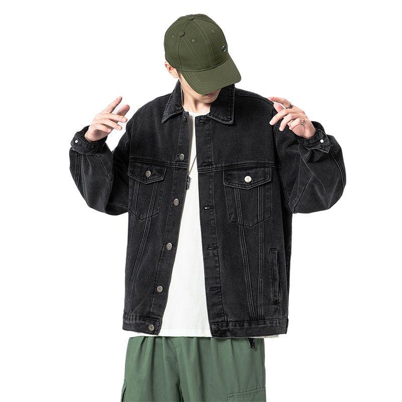 Туан. Высококачественные Осенние новые мужские джинсовые куртки, свободные и большие мужские джинсовые куртки