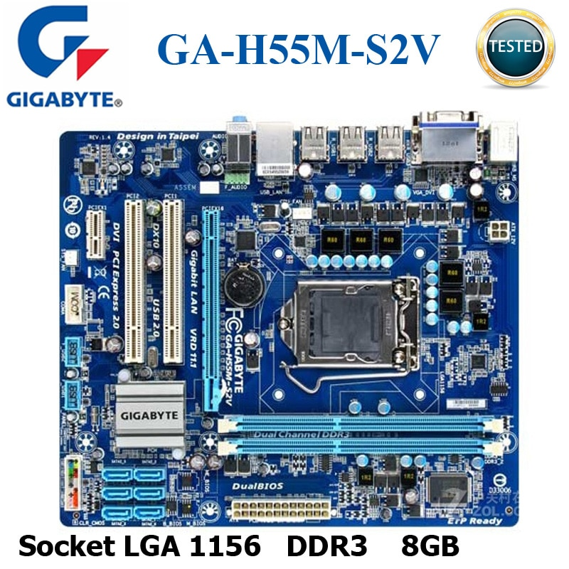 مقبس LGA 1156 DDR3 جيجابايت GA-H55M-S2V اللوحة H55 LGA 1156 النواة i7 i5 i3 DDR3 8G SATA2 USB2.0 VGA DVI اللوحة