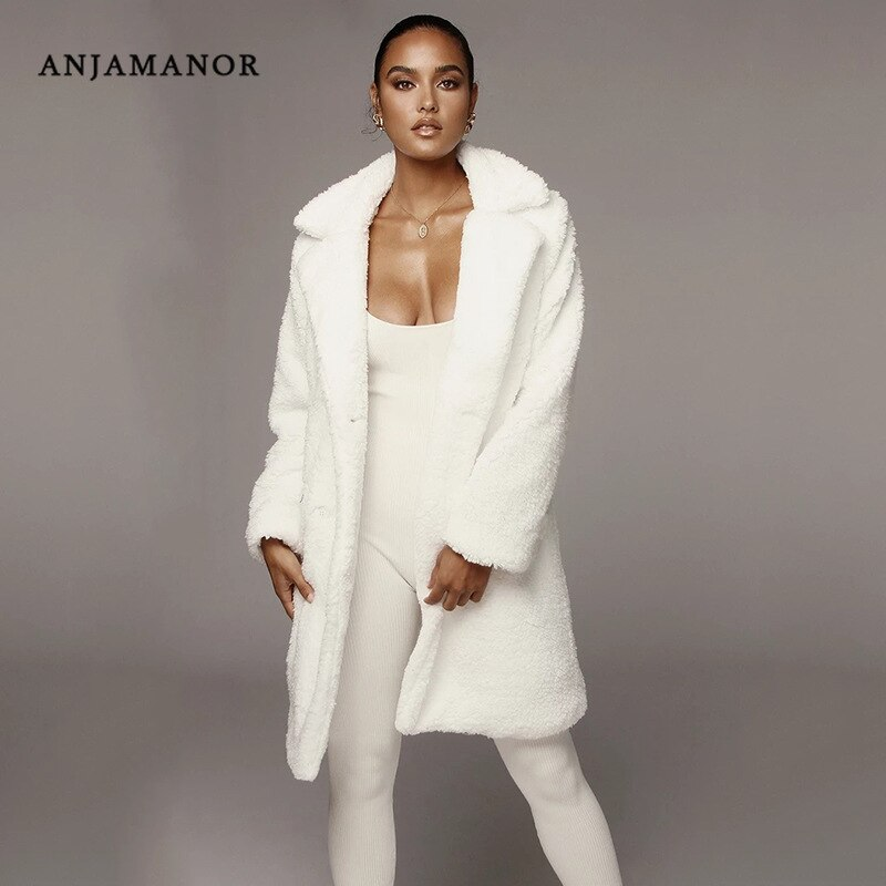 ANJAMANOR Women Woolen Coat 2019 Winter Fashion Cashmere Fuzzy Long Jacket White Pink Kahki Fluffy Teddy Bear Coats D92-BB04