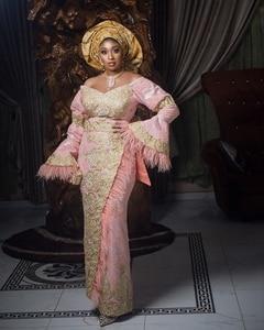Pink Aso Ebi South African Evening Dresses Sheath Long Sleeves Lace Beaded Nigeria Dubai Saudi Arabic Evening Gown Prom Dress