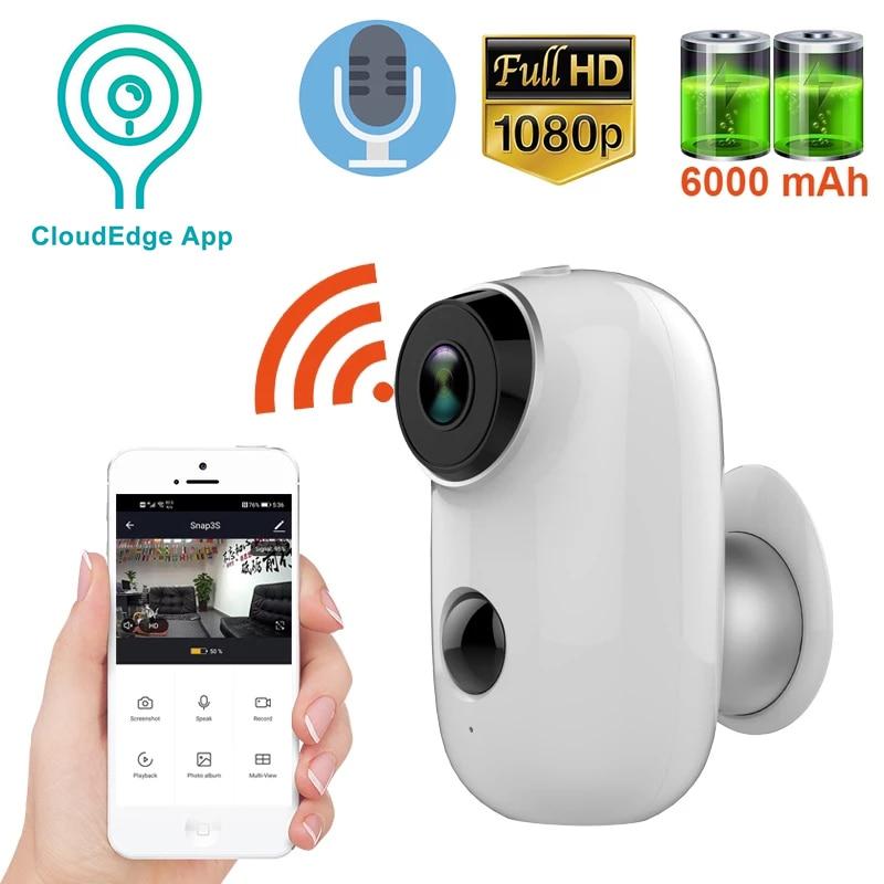 1080P واي فاي كاميرا بطارية مدمجة 6000mAh تعمل بالطاقة IP65 مقاوم للماء لاسلكي واي فاي في الهواء الطلق الأمن سحابة IP كاميرا CloudEdge APP