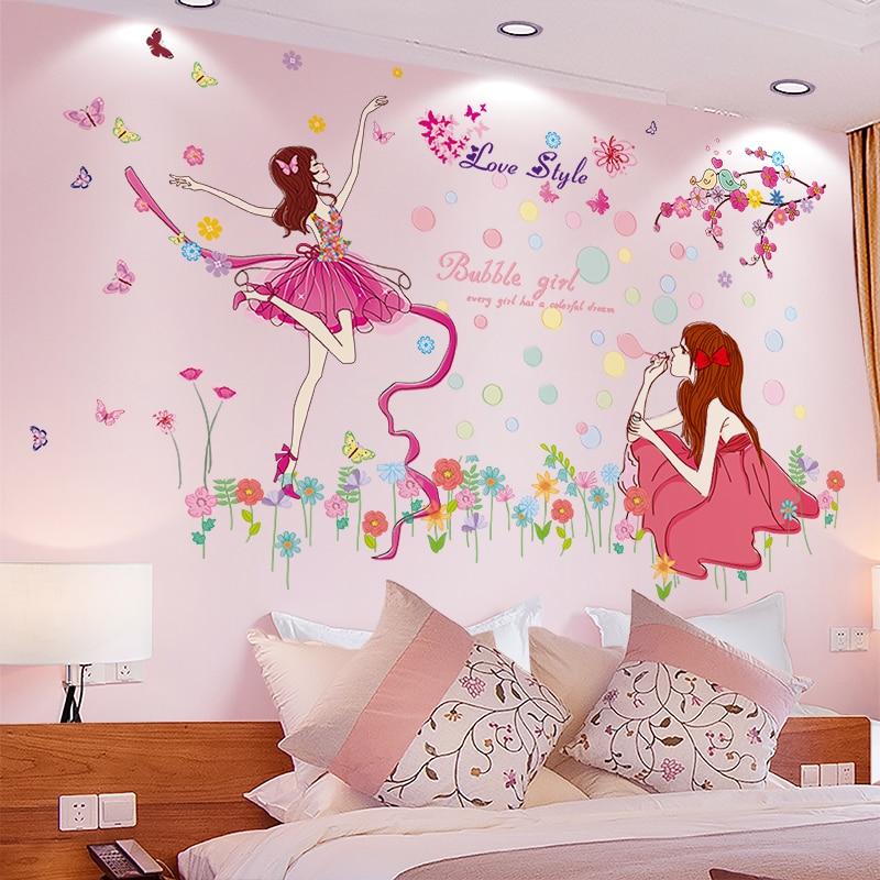 [SHIJUEHEZI] pegatinas de pared de dibujos animados para chicas, pegatinas de Mural DIY para bailarinas para casa, habitación infantil, decoración de dormitorio de bebé