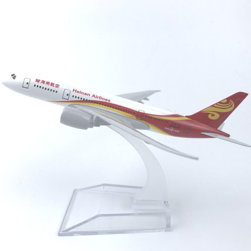 16cm ar china hainan airlines b787 modelo avião boeing 787 airways w suporte de metal avião modelo aeronaves coleções presentes