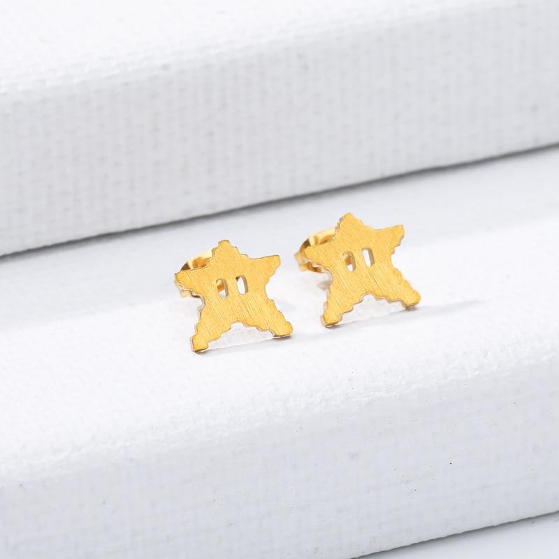 Bonitos pendientes de estrella de mar, pendientes de moda con perno de acero inoxidable dorado Mini estrella para mujer, joyería diaria