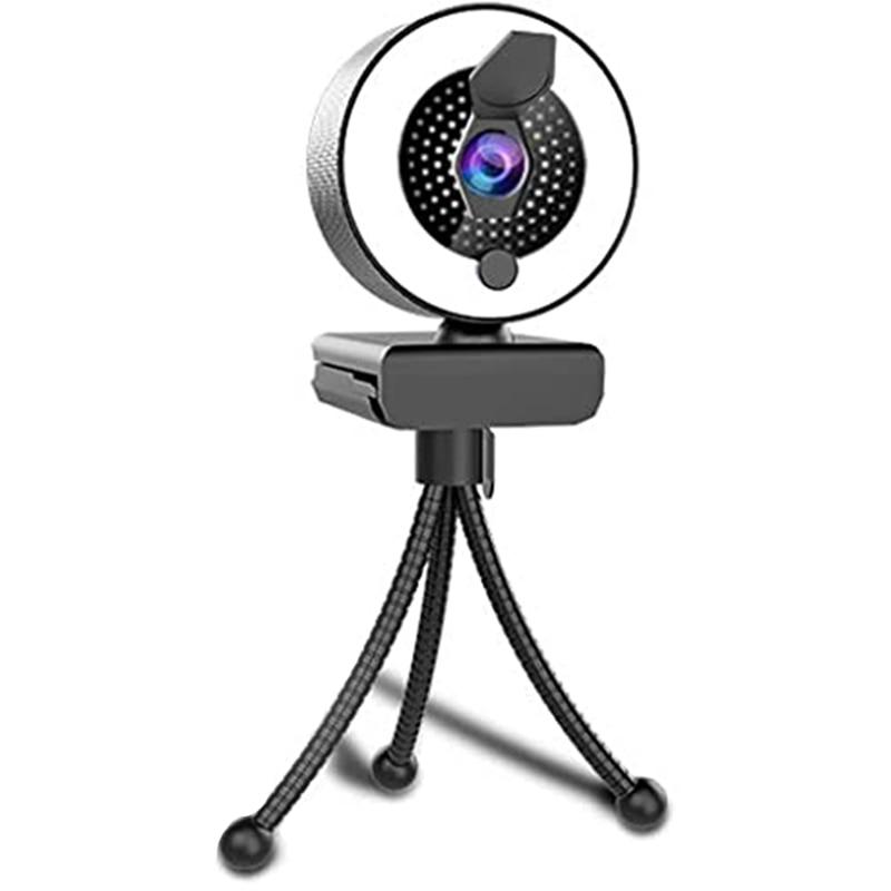 2K كاميرا ويب مع ميكروفون مصباح مصمم على شكل حلقة-HD كاميرا الويب مع غطاء الخصوصية و ترايبود لسطح المكتب/الكمبيوتر المحمول/الكمبيوتر/ماك ، لأجه...