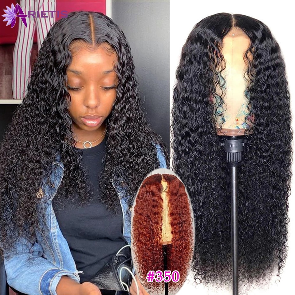350 Orange Ginger Curly Human Hair Wig 28 30 Inches 180% Density 4x4 Lace Closure Wig PrePlucked Bra