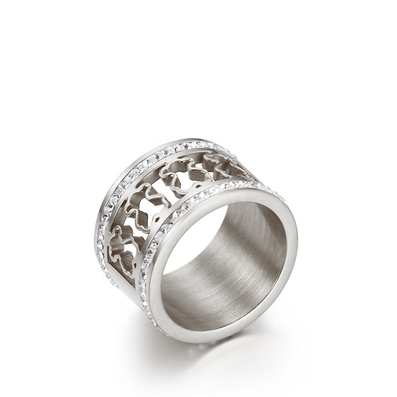 Hot Sale 316L Stainless Steel CZ Bear Rings Women Fashion anillos For Party Jewellery Accessories Gifts
