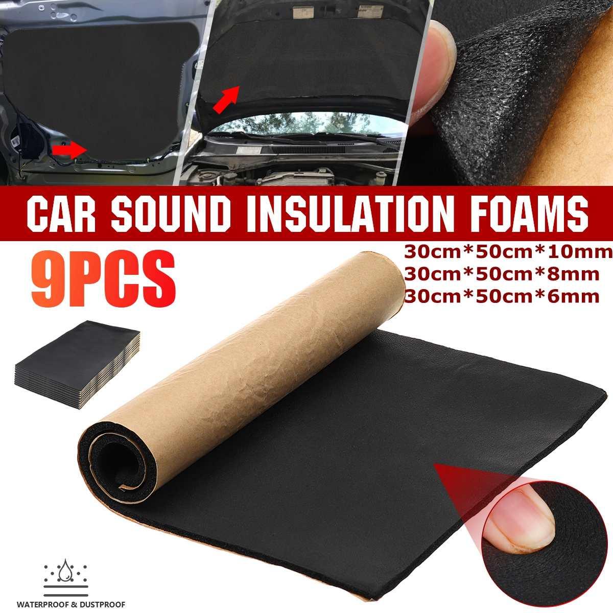 Tapetes de algodón para aislamiento acústico de coche de 30x50cm, 6/8/10mm, capó del motor, cortafuegos, protectores contra el ruido
