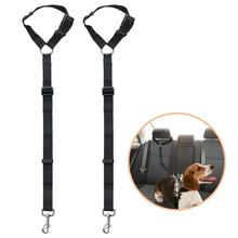 Doggy Car Headrest Restraint - Animal Safety Seat Belt Strap - Adjustable Nylon Fabric Harness for Dog - Easy Vehicle Travel wit