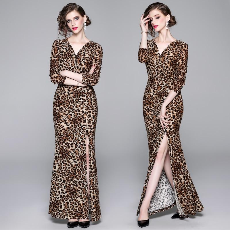 Delvor europeo y americano nuevo estilo elegante plisado partido trapeador vestido Sexy estampado de leopardo vestido largo