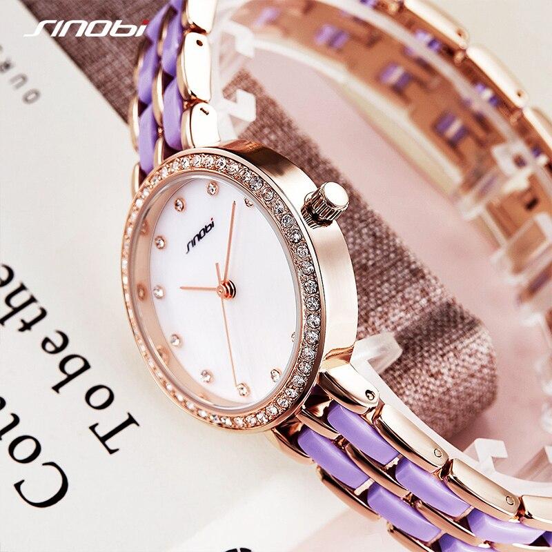 SINOBI Woman Quartz Wristwatches Luxury Women Watches Diamond Fashion Female Shell Colorful Surface Watch Relogio feminino enlarge