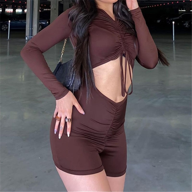 Autumn Women Overall Slim Sexy Solid Color Hollow Out Long Sleeve T-shirt Style Woman Playsuits Lady