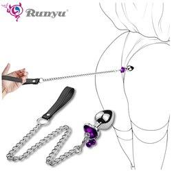 Metal anal plug butt plug unissex chapeado jóias sexo rolha próstata adulto brinquedos para homens mulheres treinador anal para casais