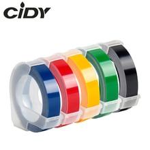 Cidy 5 pièces multicolore Dymo 3D 6/9/12mm gaufrage étiquette ruban Compatible Dymo 1610/12965/1540/1880 pour Motex E101 étiqueteurs