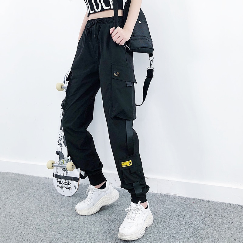 נשים אופנה מכנסיים מטען Streetwear שחור קרסול אורך אלסטי מותניים רצים נקבה Loose מכנסיים מקרית בתוספת גודל Haren מכנסיים