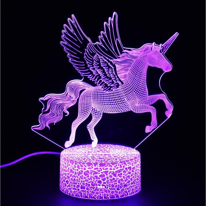 Серия Единорог Красочные Креативные животные модель лошадь 3D свет LED маленький ночник подарок настольная лампа визуальный свет