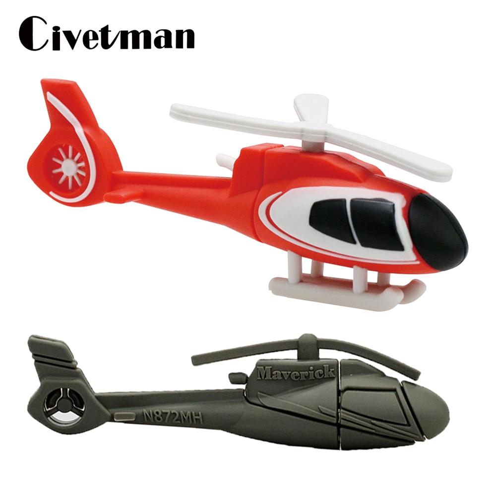 Мультяшный вертолет USB флэш-накопитель 8 Гб оперативной памяти, 16 Гб встроенной памяти, 32 ГБ, 64 ГБ, 128 ГБ флэш-накопитель самолет памяти жестко...