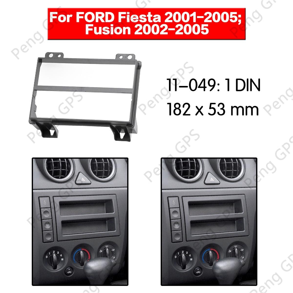 Marco de placa para coche 1DIN fascia facia, panel de placa para FORD Fusion Fiesta 2001-2005 Stereo Fascia Dash Kit de instalación de moldura de CD 11-049