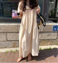 Vintage Casual Loose Female Dresses Short Sleeve O-neck Midi Long Dress Embroidery Korean Style Sundress for Women 2020 New