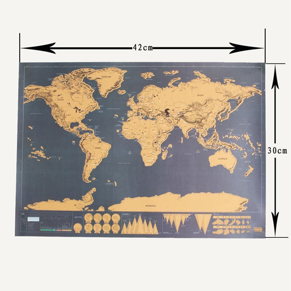 42*30 CM  Scratch off Journal retro World globe Map Personalized Atlas Poster with country Flag decoration for office school