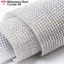 RESEN 45X10 CM/PCS Adhesive Hotfix Glas Kristall AB Strass Blatt Splitter Basis Diamant Wrap Für DIY party Bühne Dekoration