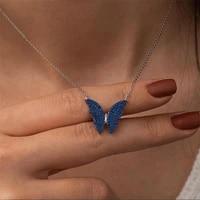 gold cz black white blue butterfly pendants necklace for women stainless steel link chain bijoux femme men birthday gift