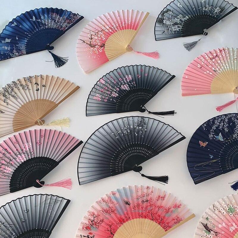 Китайские ручные веера, свадебные бамбуковые веера, ручные складные ручные винтажные ручные веера с узором, свадебные сувениры, художестве...