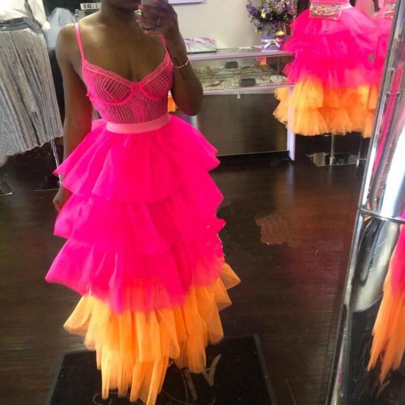 Pretty Hot Pink Multi Tiered Tulle Skirt with Zipper Waistline A line Long Ruffle Maxi Skirt Womens Tutu Custom Made Plus Size
