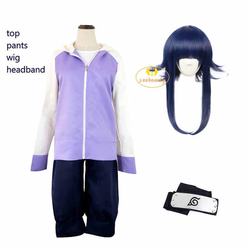 Hinata Hyuga Cosplay Kostüm Zip Up Hoodie Hosen Perücke Konoha Stirnband Kunai Requisiten Coaplay Outfit Für Frauen Mädchen Aliexpress