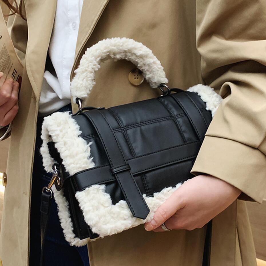 Fashion Plush Tote Women's Handbag Casual Lambswool Pu Leather Shoulder Messenger Bags for Women 2021 Women's Designer Bag Purse