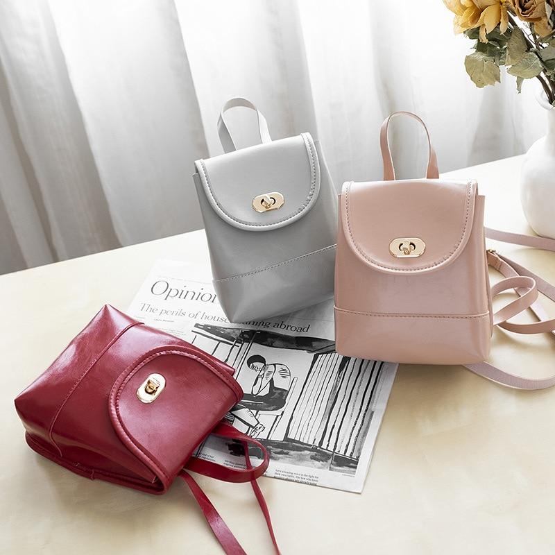 Mini mochila Casual de piel sintética para mujer, Mini Bolso de piel de aceite, bolso de cubo para viaje, bolso escolar para estudiantes, moderna mochila para ordenador portátil para mujer
