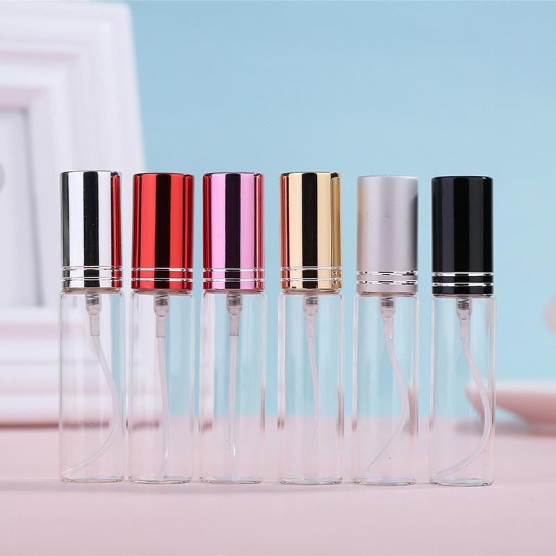 20pcs/lot 5ML 10ML Clear Glass Spray Bottle Perfume Atomizer with Aluminum Gold Black Cap Mini Sample Vials Thin Glass Bottle