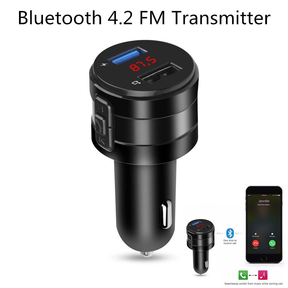 Transmissor modulador para carro, transmissor fm para carro bluetooth 4.2 3,1a com adaptador usb duplo para mp3 e receptor de áudio sem fio preto