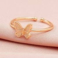 1pc copper butterfly open ring adjustable woman party jewelry gift finger ring cute insect rings new design fashion jewelry