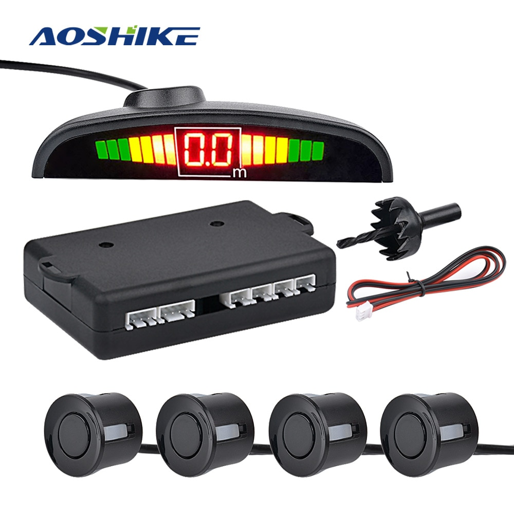 AOSHIKE Car Parktronic Automatic LED Parking Sensor with 4 Sensors Reverse Backup Parking Radar Monitor Detector System Display
