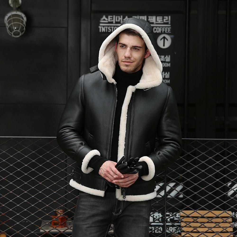 Chaqueta de cuero genuino para hombre, chaqueta de piel de oveja para invierno, abrigo de piel de oveja para hombres, chaqueta aviador B3 17-7009 KJ1125