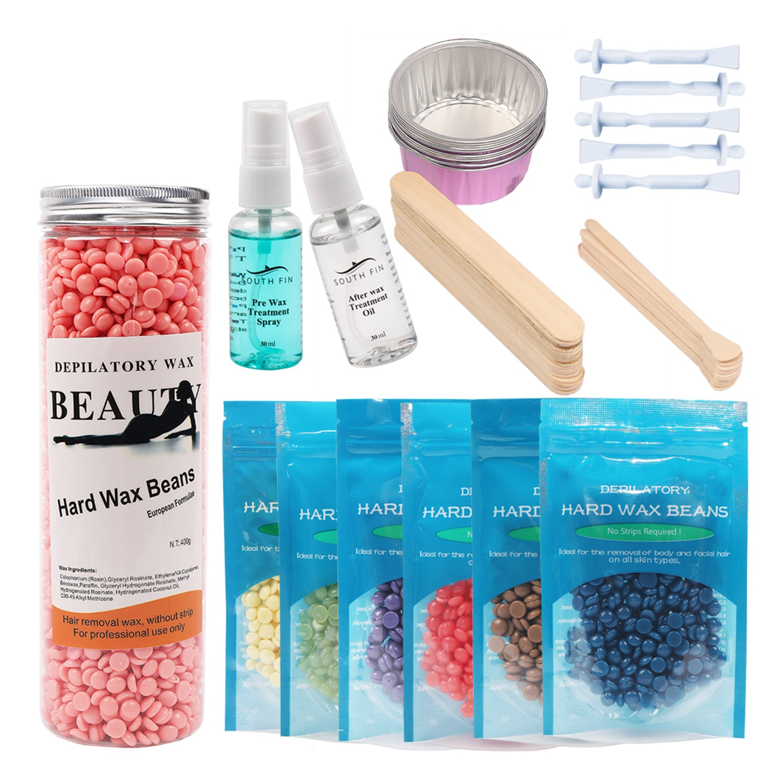 6 Flavors Depilatory Wax Beans Solid Hard Wax Beans Unisex Armpit Arm Legs Epilation Private Hair Removal Facial Whole Body