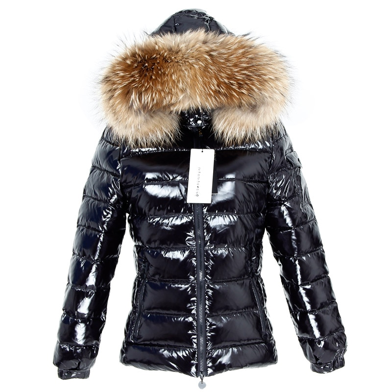 Winter Jacket Women Real Fur Coat Parkas Duck Down Lining Coat Real Raccoon Fur Collar Warm Black Streetwear