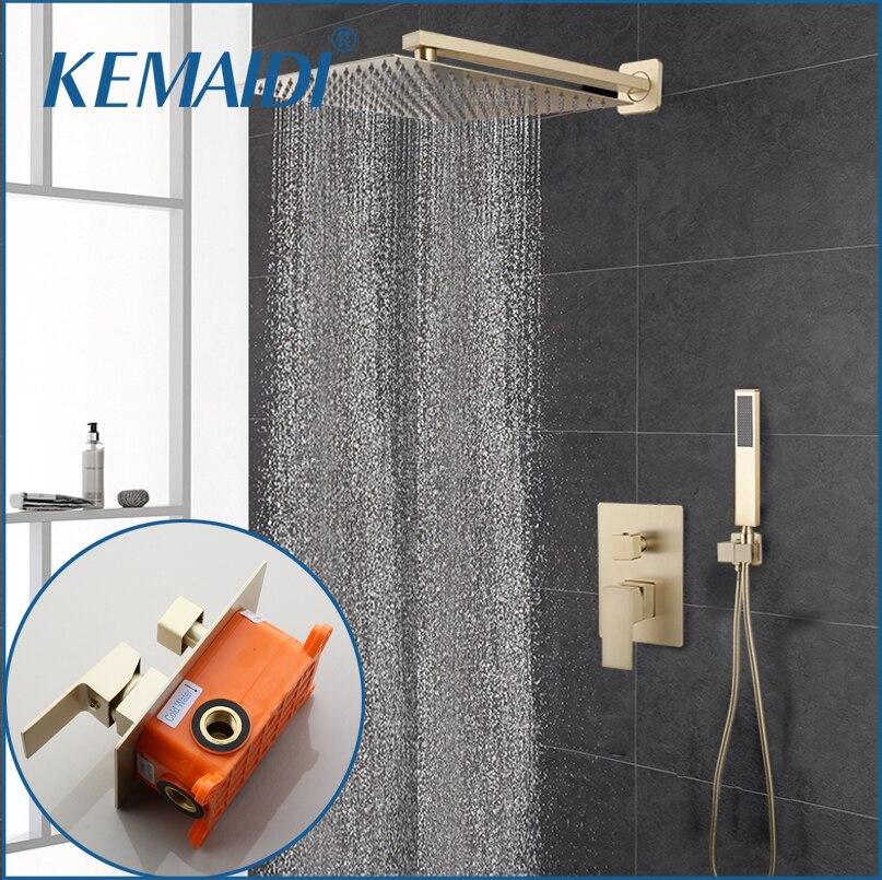 KEMAIDI níquel oro 12 pulgadas ducha juego de grifería de ducha cabeza montado en la pared conjunto de ducha de lluvia W/mezclador de ducha de mano juego de grifería