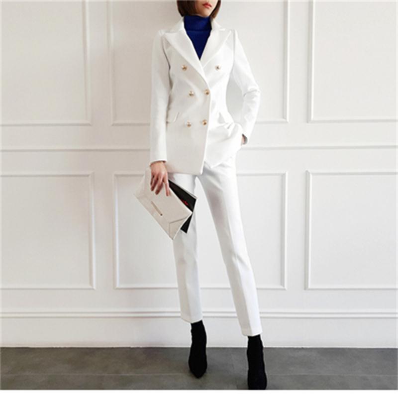 Terno da moda terno feminino primavera Nova Alta qualidade branco Business casual Terno + calças OL two-piece suit mulheres roupas de trabalho